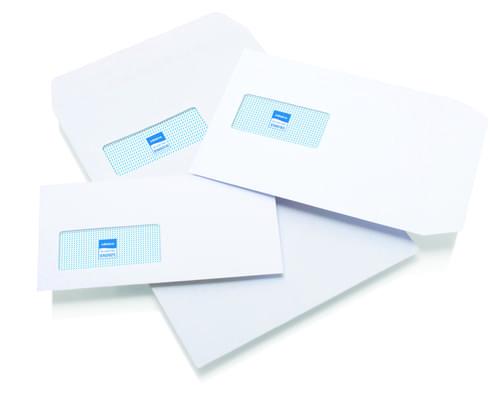Initiative White Envelopes DL 110mm x 220mm Self Seal Window 80gsm Box 1000s