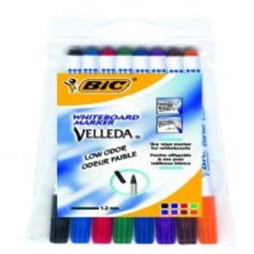 Bic Velleda Fine Drywipe Pens Assorted Wallet Of  8s