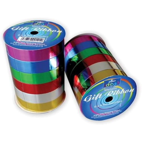 Satin Gift Ribbon Assorted Pack 6s