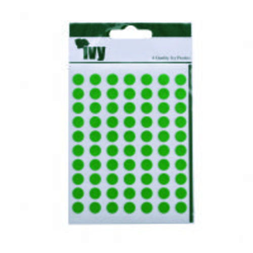 Ivy Self Adhesive Lable 8mm Diameter Green Pack 490