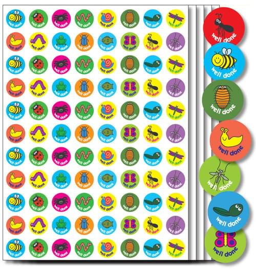 A5 Minibeasts 15mm Stickers Assorted Pack 440 55385