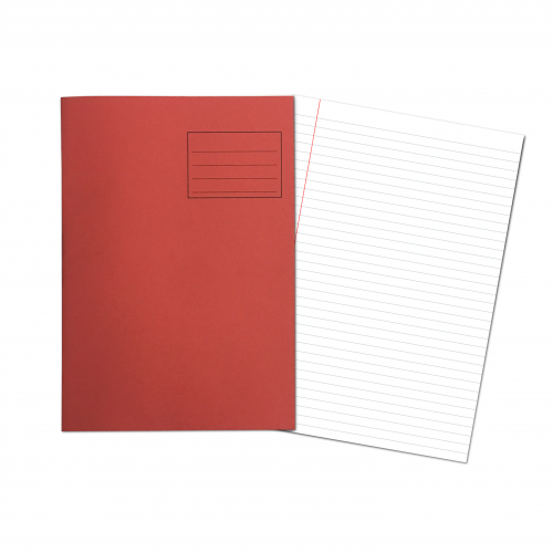 Exercise Books A4+ 320mm x 240mm 80 Pages 8mm Feint & Margin Red