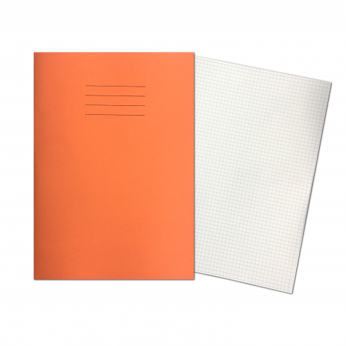 Exercise Books A4+ 320mm x 240mm 80 Pages 5mm Squares Orange