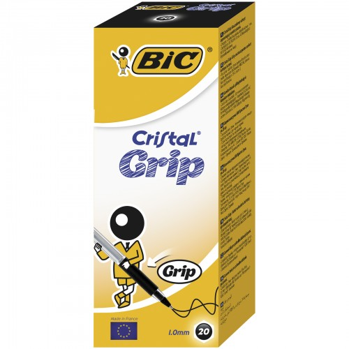 BIC Cristal Grip Ball Pens Medium Point (1.0 mm) - Black, Box of 20
