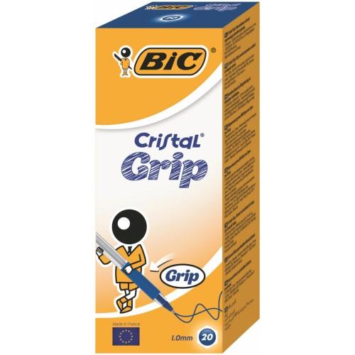 BIC Cristal Grip Ball Pens Medium Point (1.0 mm) - Blue, Box of 20