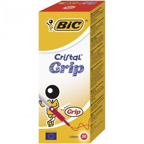 Bic Cristal Grip Ball Pen Clear Barrel 1.0mm Tip 0.4mm Line Red
