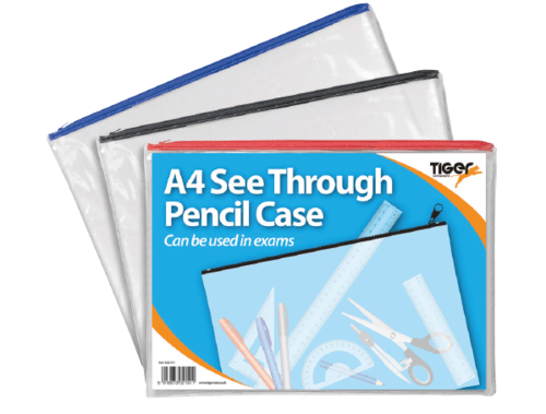 Clear Flat Pencil Case A4 Assorted Colours
