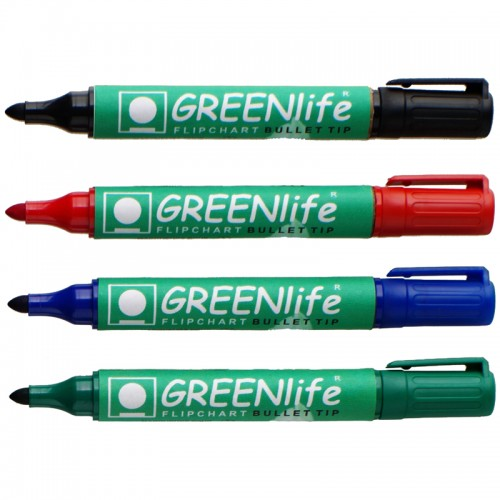 Assorted Wallet Of 4s Greenlife Drywipe Markers Bullet Tip