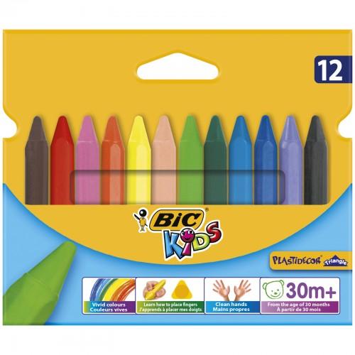Bic Kids Plastidecor Triangle Colouring Pencils Assorted 12s