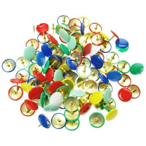 100 Coloured Drawing Pins Assorted