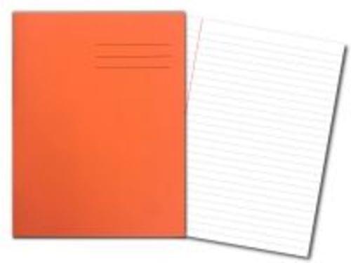 Exercise Books 9'' x 7'' 80 Pages 8mm Feint  Margin Orange