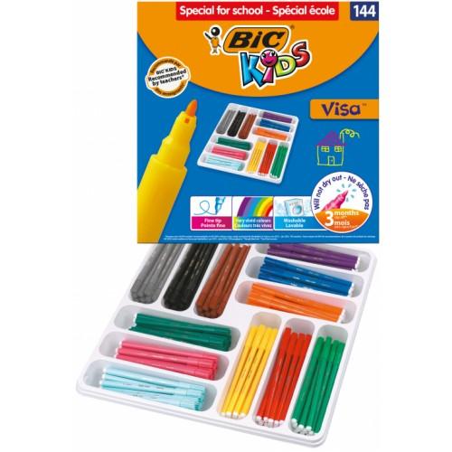 BIC Kids Visa Felt Fine Tip Colouring Pens - Pack of 144