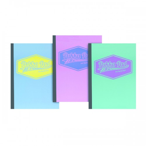Pukka Refill Pads A4 Ruled & Margin Assorted Pastel Colours