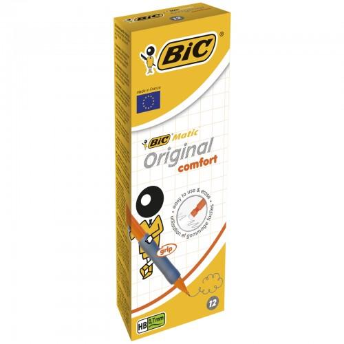 BIC Matic Original Comfort 0.7 mm HB Mechanical Pencils - Assorted Barrel Colours, Box of 12
