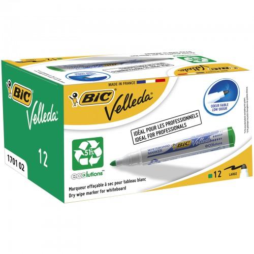 BIC Velleda 1701 ECOlutions Drywipe Markers Medium Bullet Tip - Green, Box of 12