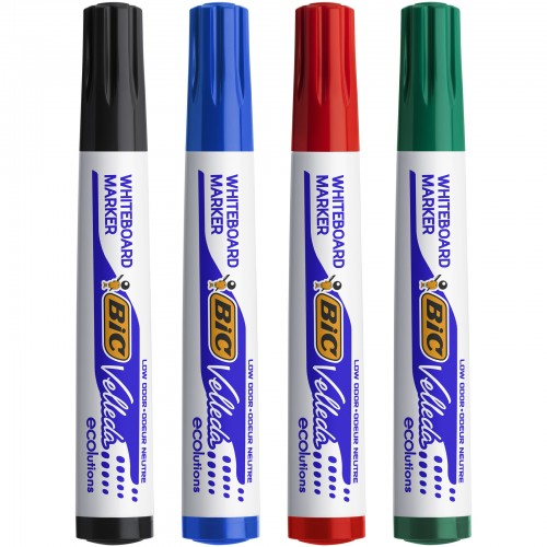 Bic Velleda Drywipe Markers Bullet Tip Assorted Wallet Of 4s
