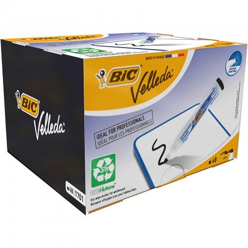 Bic Velleda Bullet Tip Drywipe Markers Black Pack of 48