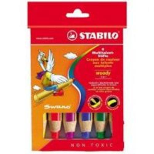 Stabilo Woody 3 In 1 Pencil Assorted Pack 6s 8806