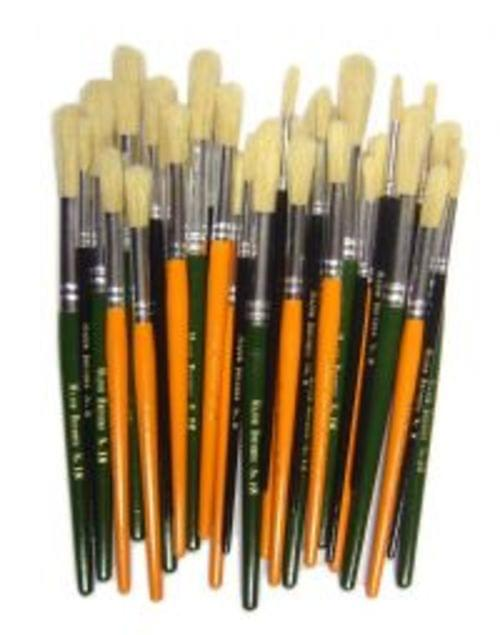 Powder Colour Brushes Short Handles Assorted Pack 30s