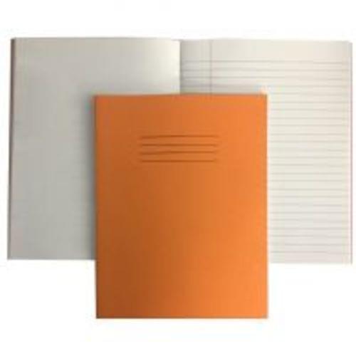 Exercise Books 9'' x 7'' 80 Pages 8mm Feint  Margin  Plain Alternate Orange EX554245