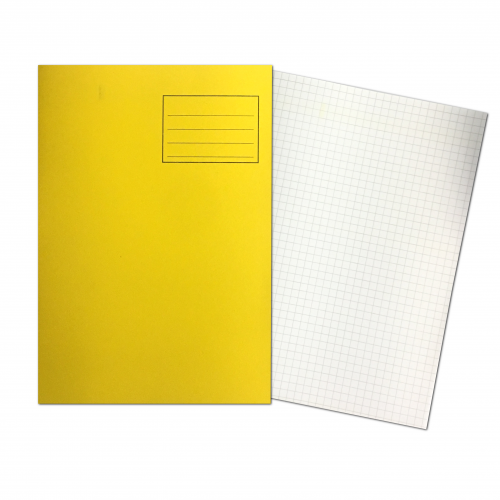 Exercise Books A4 80 Pages 7mm Squares Yellow