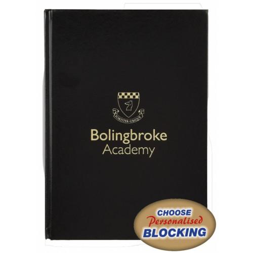Hardback Note Book A4 8mm Feint  Margin Black