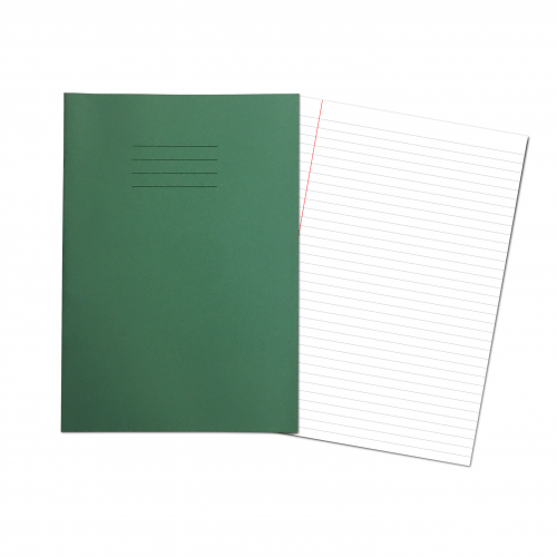 Exercise Books A4  80 Pages 8mm Feint  Margin - Dark Green