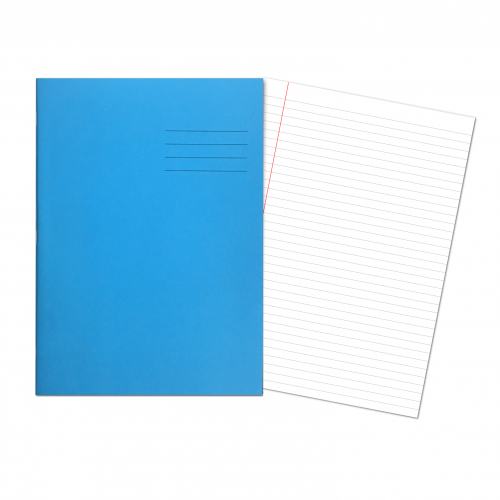 Exercise Books A4  80 Pages 8mm Feint  Margin - Light Blue