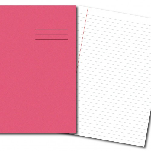 Exercise Books A4 80 Pages 8mm Feint  Margin Pink