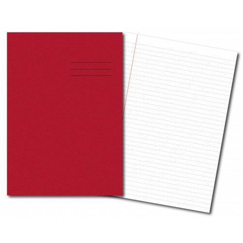 Exercise Books A4  80 Pages 8mm Feint  Margin Red