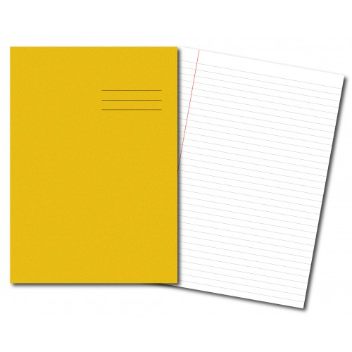 Exercise Books A4  80 Pages 8mm Feint  Margin Yellow
