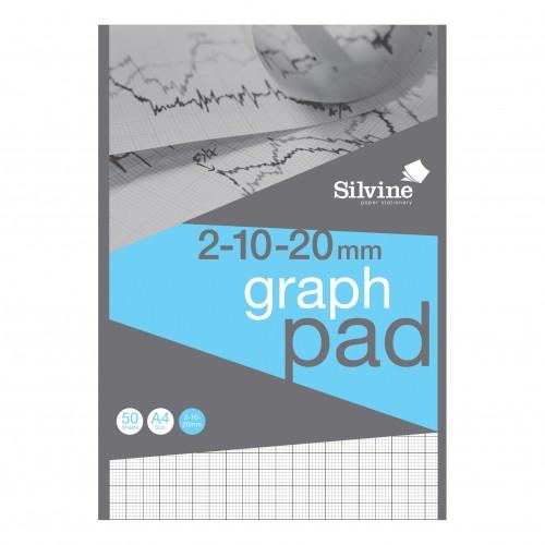Silvine Professional Graph Pad A4 2/10/20mm Squares