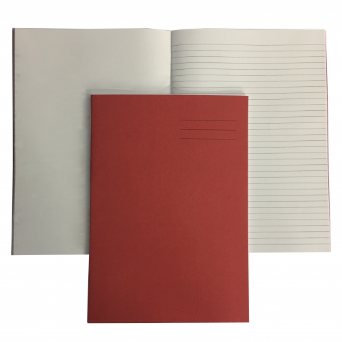 Exercise Books A4 80 Pages 8mm Feint  Plain Alternate Red