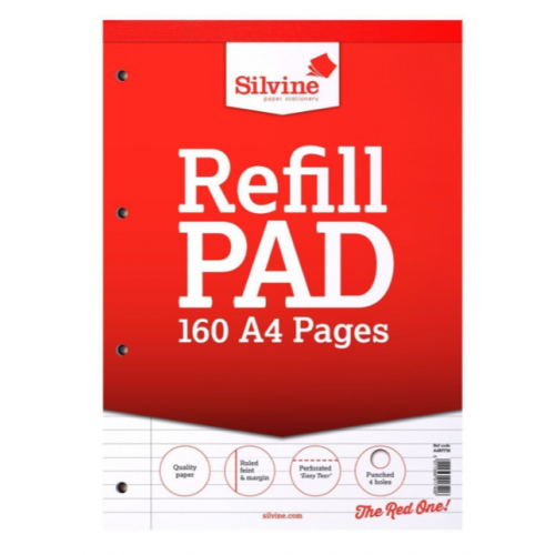 Silvine Refill Pads A4 160 Pages 8mm Feint And Margin
