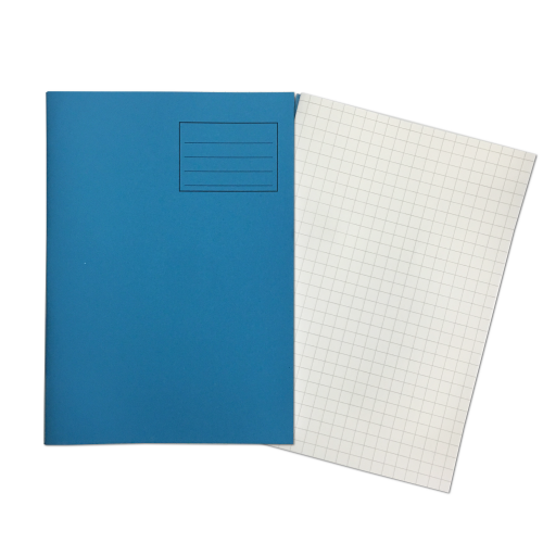 Exercise Books A4 80 Pages 10mm Squares Light Blue