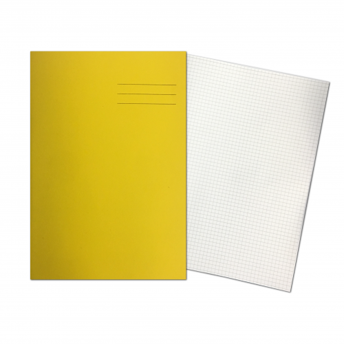 Exercise Books A4 80 Pages 5mm Squares Yellow