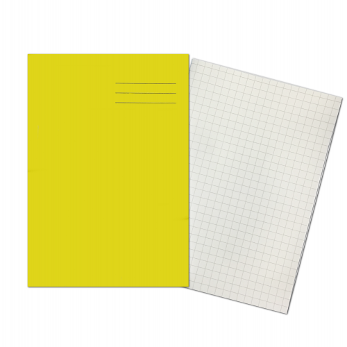Exercise Book A4 64 Pages 10mm Squares Yellow