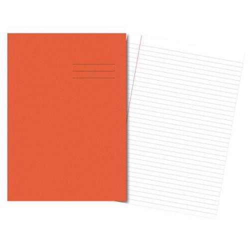 Exercise Books A4 64 Pages 8mm Feint Margin Orange