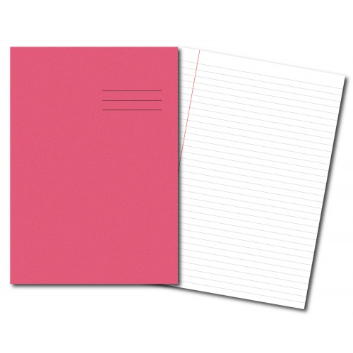 Exercise Books A4 64 Pages 8mm Feint Margin Pink