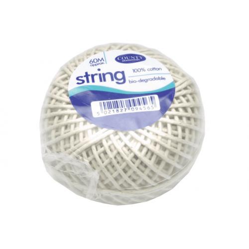 County Cotton String Ball Medium 60m C176 - PACK OF 12