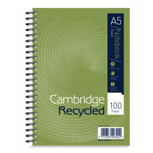 Cambrdige Recycled Wire Bound Notebooks A5 8mm Feint And Margin 200 Pages