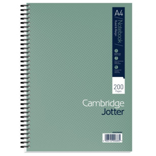 Cambridge Ruled Margin Wirebound Jotter Notebook 200 Pages A4
