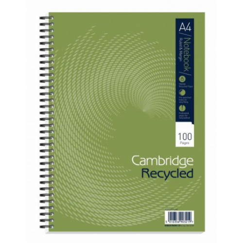 Cambridge Ruled Recycled Wirebound Notebook 100 Pages A4 (Pack of 30) 400020196
