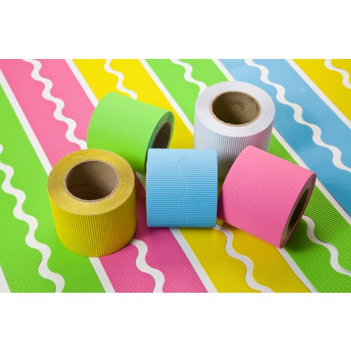 Corrugated Scalopped Border Rolls Cool Colours Assorted Pack 5s