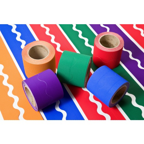 Corrugated Scalopped Border Rolls Warm Colours Assorted Pack 5s