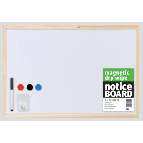 Magnetic Whiteboard 600mm x 400mm With Pine Frame