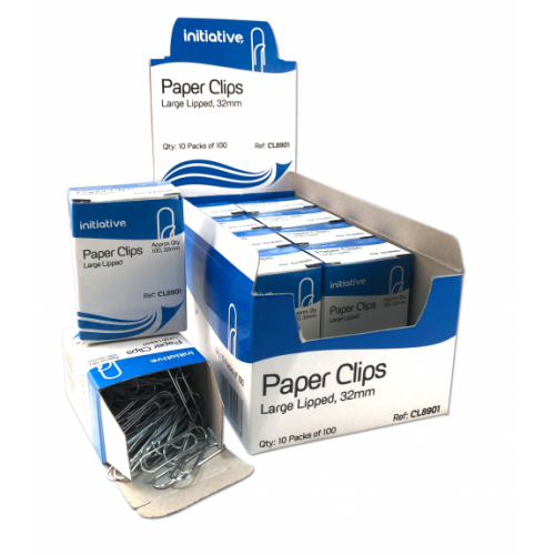 Initiative Paper Clips Large Lipped 32mm Pack Of 10 x 100