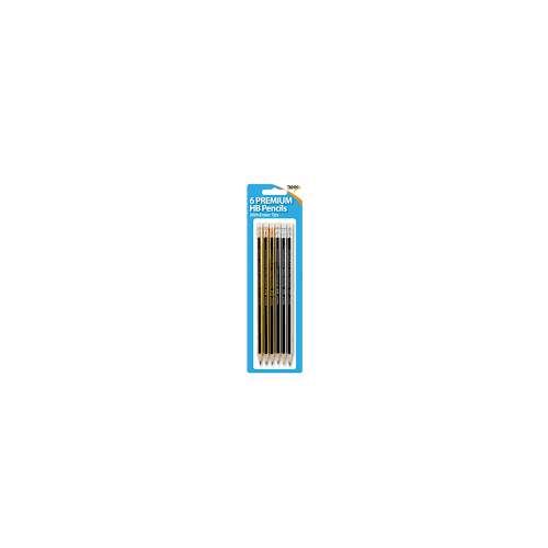 Tiger HB Eraser Tipped Pencils Pack 6s Hanging Pack