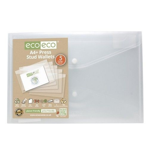 Eco Pack 5 A4+ 95% Recycled Press Stud Wallets
