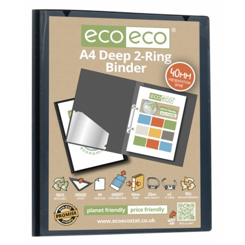 Recycled Ring Binder A4 2 Ring 40mm Spine